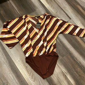 Satin Striped body suit